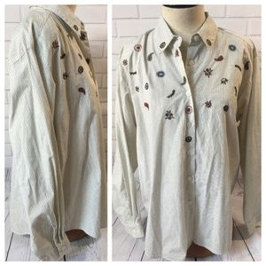 XL Monterey by Koret Embroidered Button Down